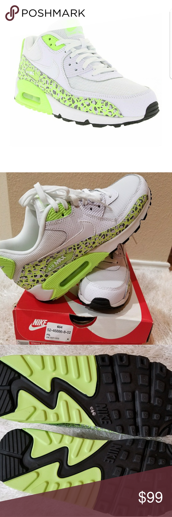 finest selection 38842 529e6 Nike Women s Air Max 90 Premium White Ghost Green Nike Women s Air Max 90  Premium White Ghost Green 443817-103 Size 7 Brand new with box.