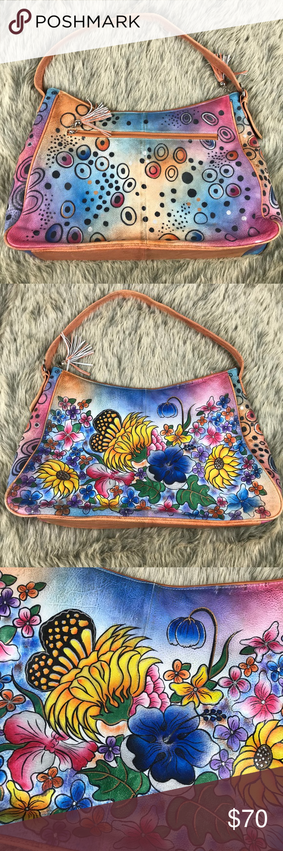 7794d6a211f Biacci Hand Painted Purse Bag Festival Hippy Art Biacci Hand Painted Purse  Bag Festival Hippy Wearable