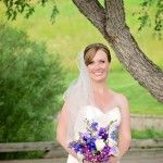 Beautiful Bride and Beautiful Purple and White Bouque
