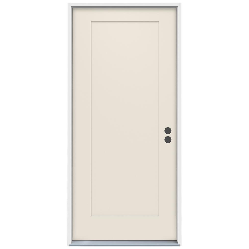 Jeld Wen 36 In X 80 In 1 Panel Craftsman Primed Steel Prehung Left Hand Inswing Front Door Thdjw166100374 Exterior Doors Tudor Style Homes Traditional Doors