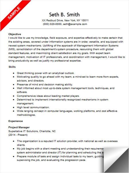 12 Project Management Objectives Riez Sample Resumes Riez - it project manager resume sample