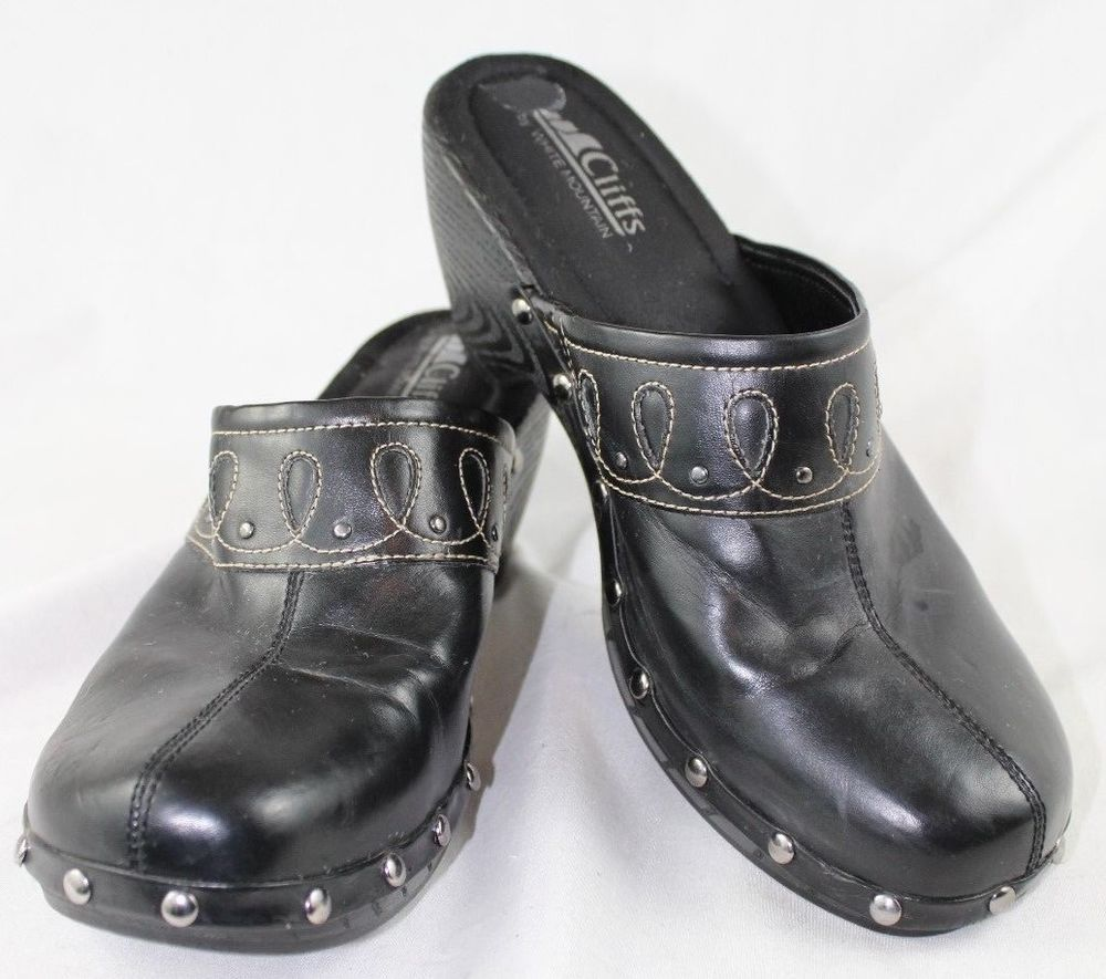 a67c46762e35 Cliffs By White Mountain Black Studded Clogs Shoes Women US 9 M   WhiteMountain  Clogs
