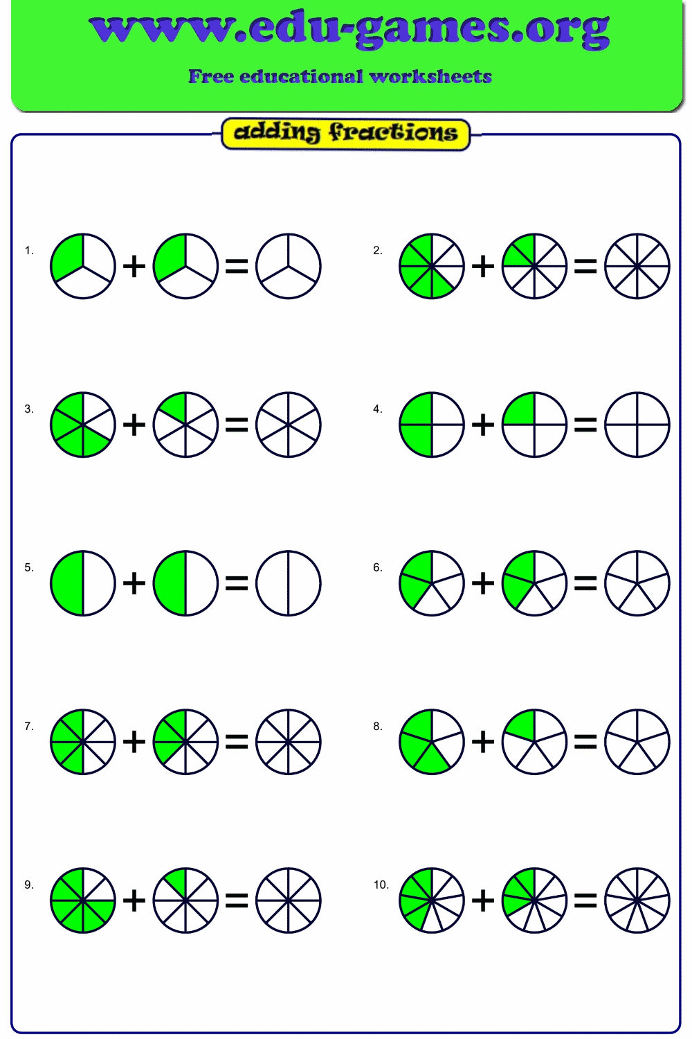 Add fraction worksheets. The fractions are displayed as