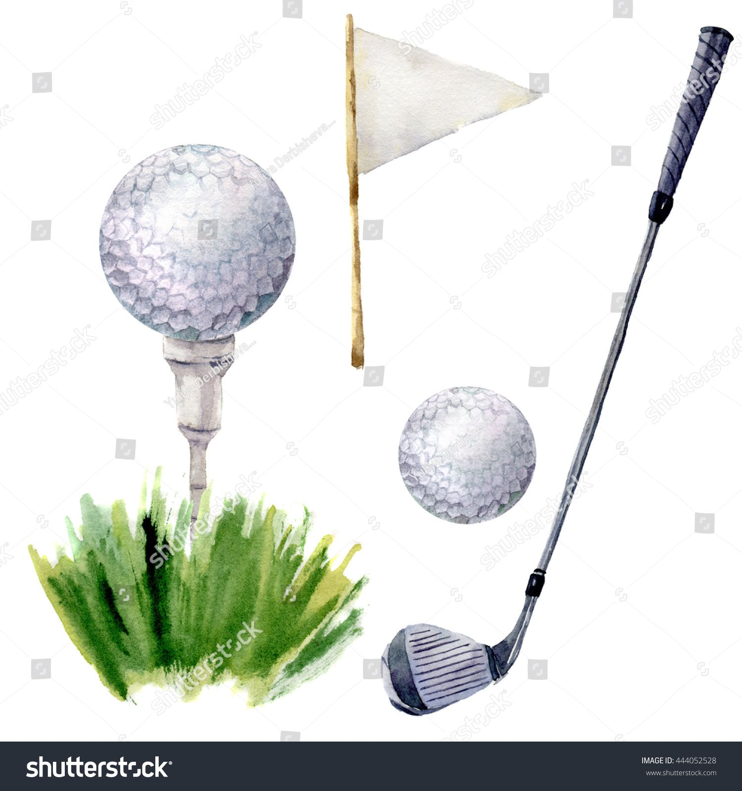 Watercolor Golf Elements Set Golf Illustration With Tee Golf Club Golf Ball Flagstick And Grass Isolated On White Presentation Design Illustration Elements