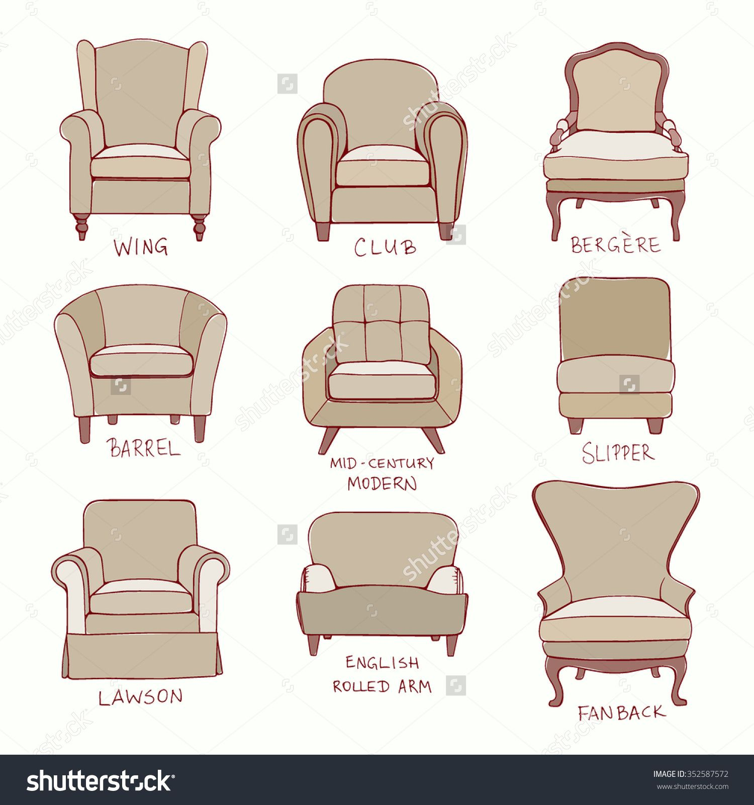 Vector Visual Guide Of Accent Chair Design Styles Hand Drawn Set Made In Linear Style Beautiful Elements Perfect For Any Business Related To