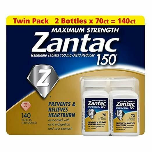 Zantac 150 Maximum Strength 140 Tablets Twin Pack 2 x 70