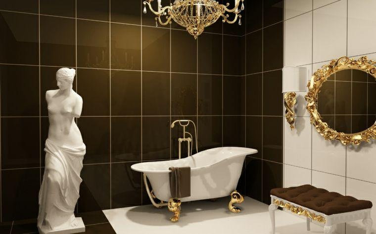 Come arredare un bagno piastrelle di colore nero e bianco vasca