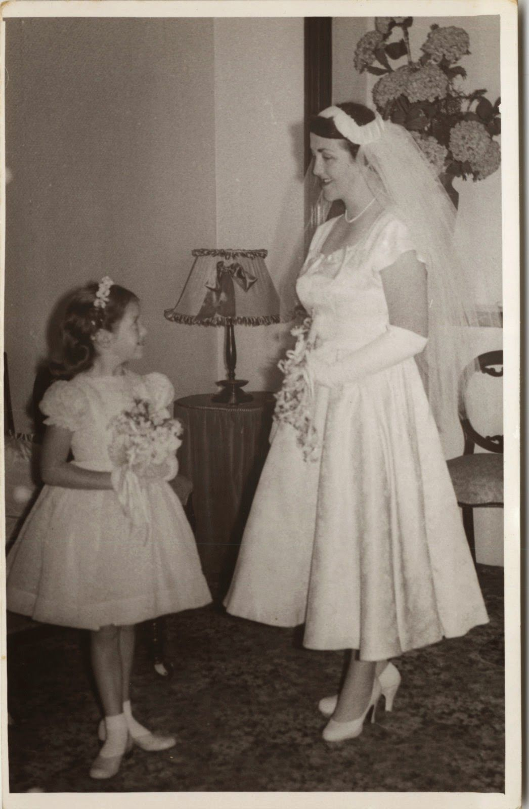 Aunty Mary and I on her wedding day 1957