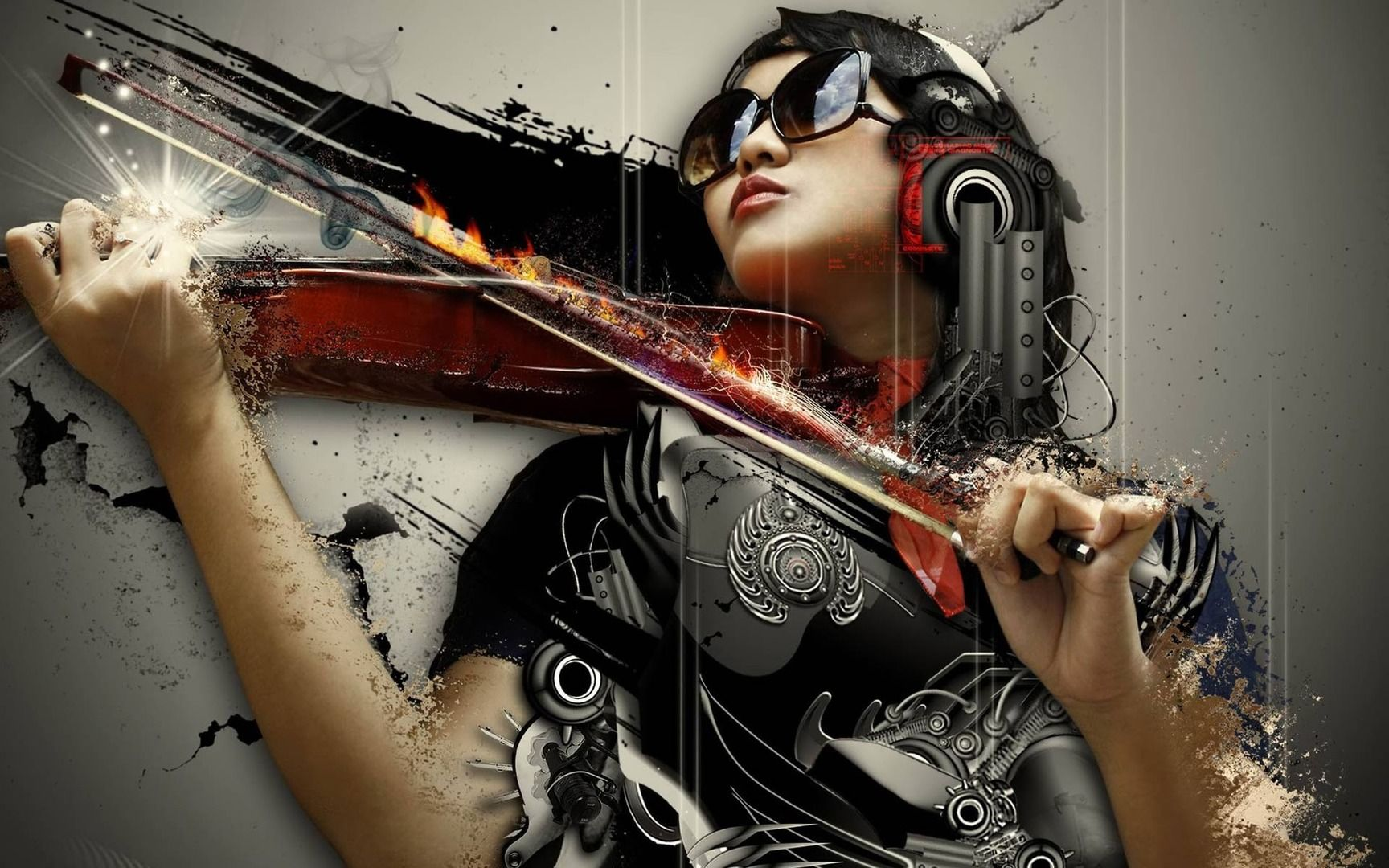 music wallpapers 1080p: Woman With Violin 1080p HD Wallpaper Music