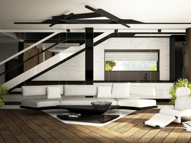 Design schwarz weiß Treppe groß Sofa Leder Wohnzimmer - wohnzimmer modern schwarz wei