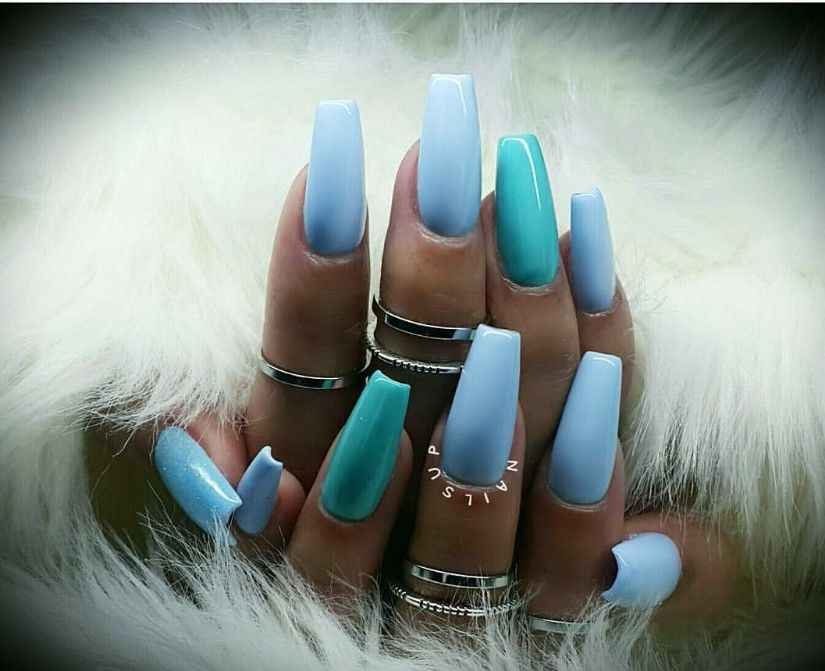 Different shades of blue coffin nails | Nails in 2019 ...