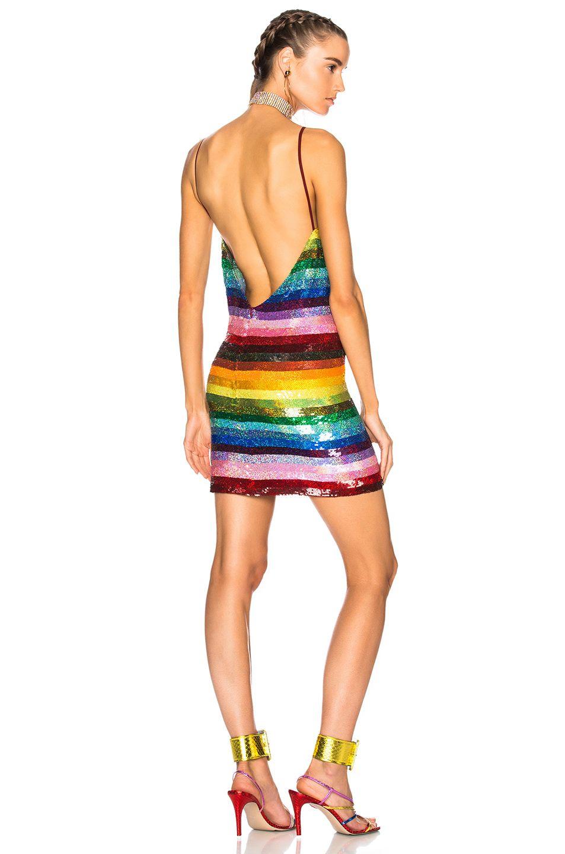 Ashish Backless Mini Dress in Glitter Rainbow | FWRD | Watch your ...