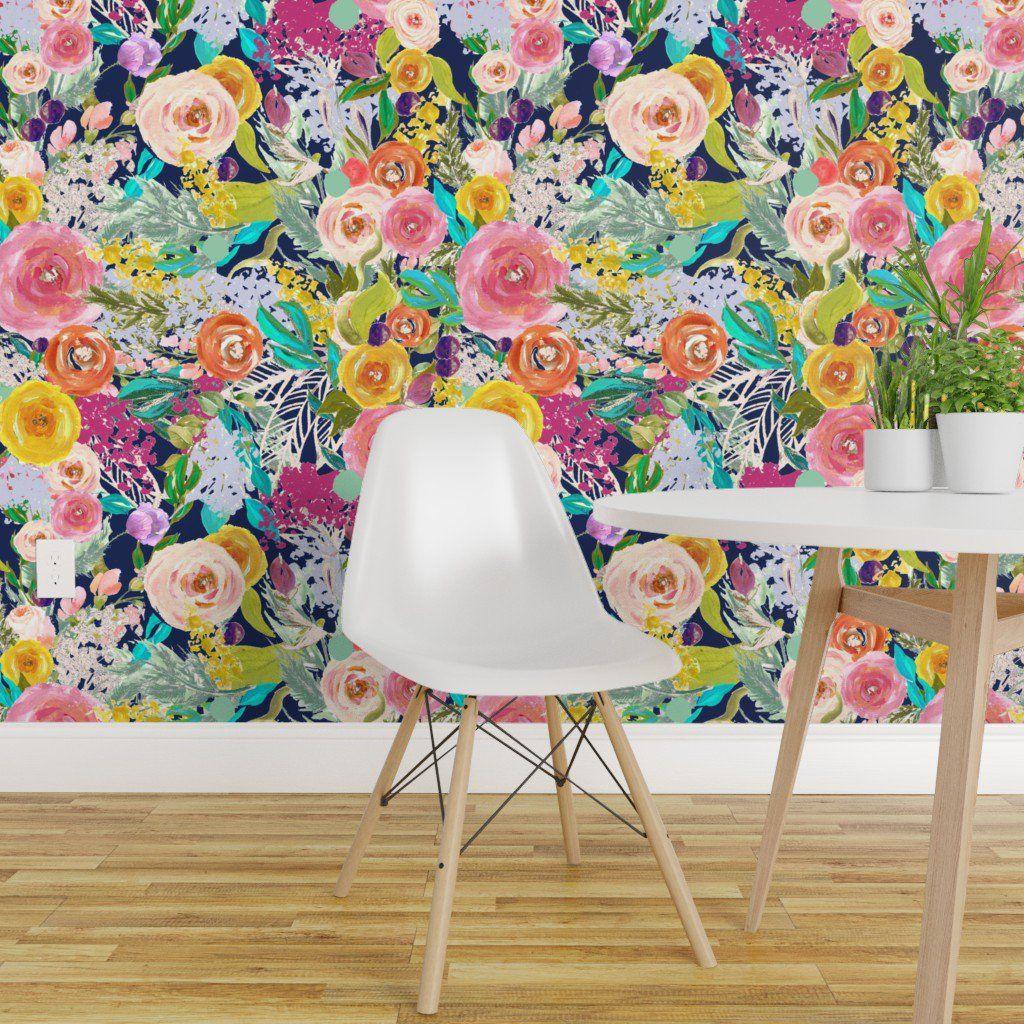 Peel And Stick Removable Wallpaper Autumn Floral Flower Dark Blue Painted Walmart Com Watercolor Floral Wallpaper Removable Wallpaper Dark Blue Paint
