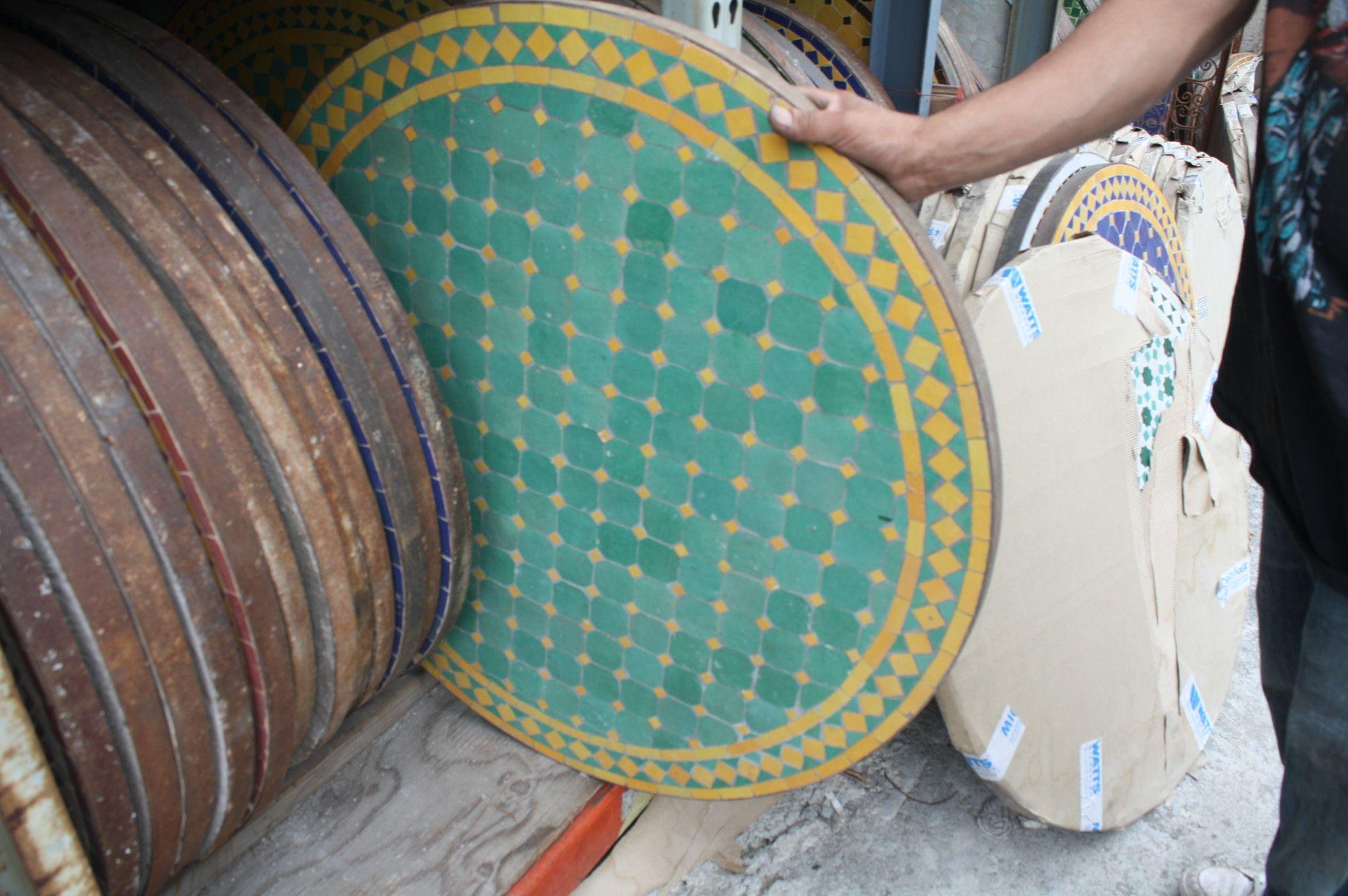 Tile Tables | Decorative Mosaic Tile Round Table | Badia Design Inc