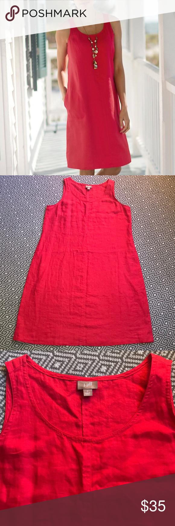 J Jill 100 Linen Shift Dress Red Size Small Linen Shift Dress Red Dress Midi Dress Sleeveless [ 1740 x 580 Pixel ]