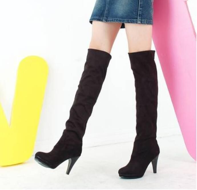 Fashion Women Shoes Faux Suede Cuffed Slouch High Heels Over Knee Boots Chic
