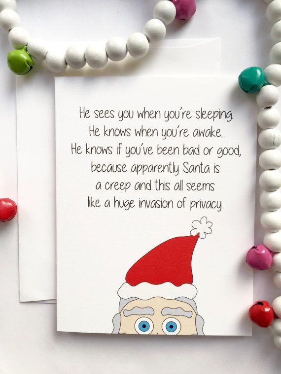 Santa Funny Christmas Card Santa Christmas Card Blank Christmas