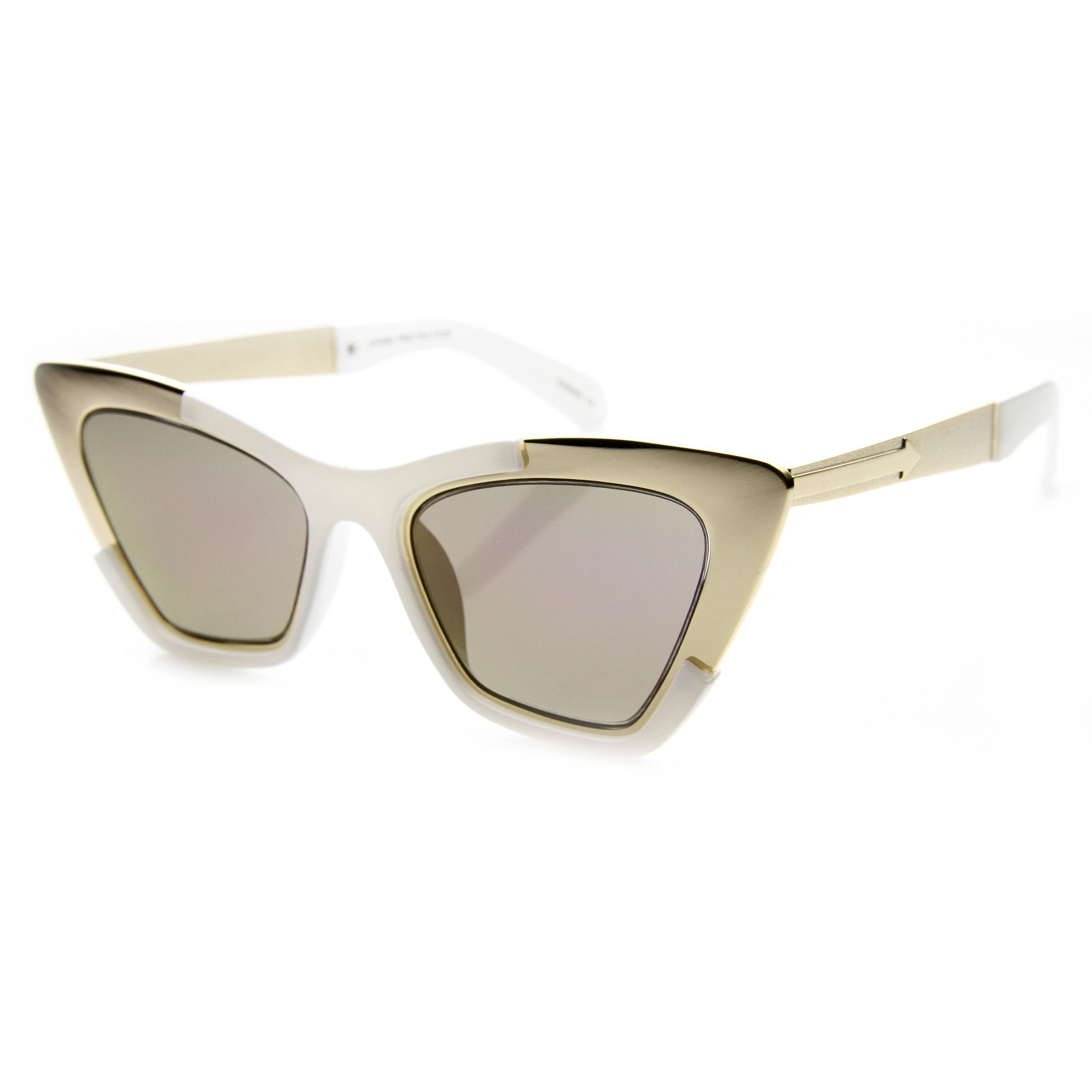 - Description - Measurements - Shipping - A dramatic and futuristic cat eye shape defines these stunning designer inspired sunnies. Add some dramatic high fashion appeal to your outfits this season in