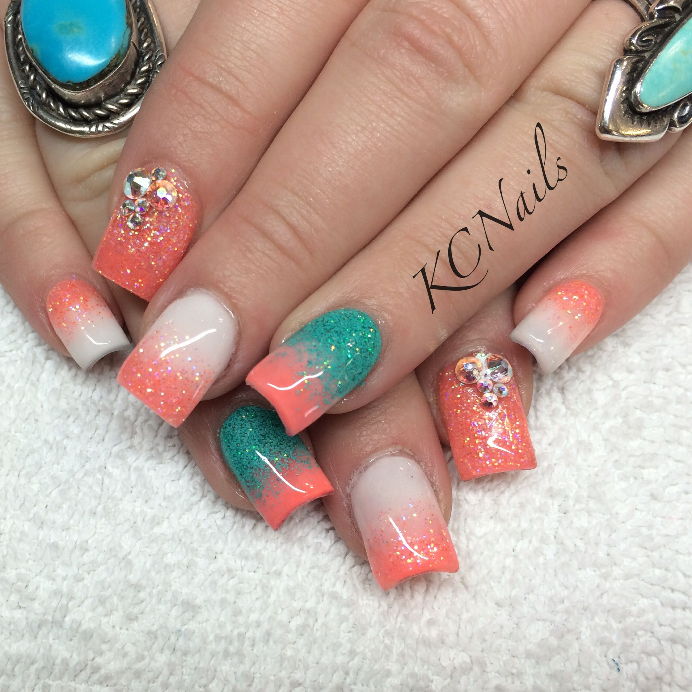 Coral, white and teal acrylic nails. Ombr and reverse ...