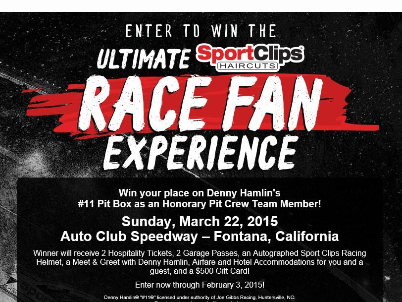 "Enter The Sport Clips ""Ultimate Race Fan Experience"