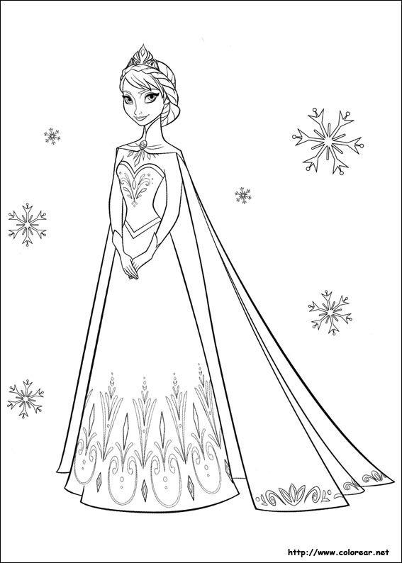 Juegos de Frozen  Colorear Reina Elsa de Frozen  Dibujos para