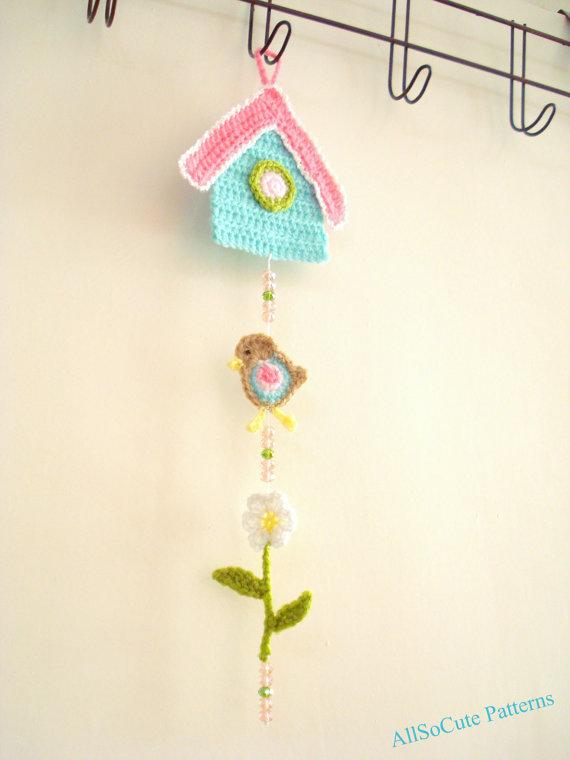 Crochet Patrón Birdhouse Garland patrón PDF colgante por AllSoCute ...