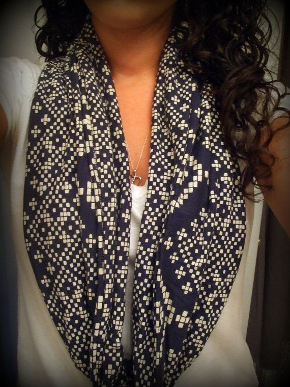Navy w/ White Pattern Recycled Tshirt Infinity/ Cowl Neck Scarf