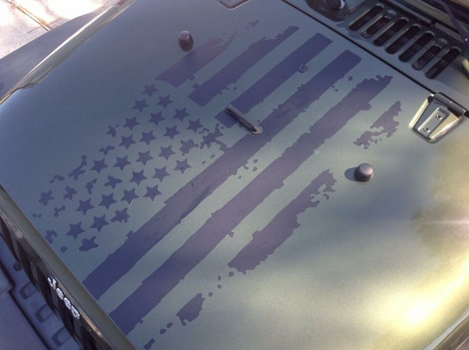 Distressed American Flag Hood Graphic Jeeps American Flag Decal