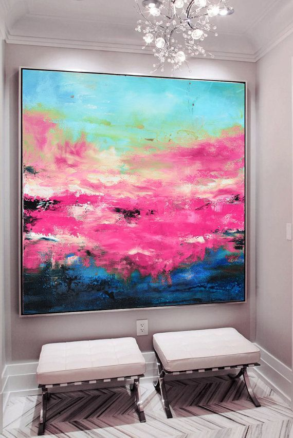 Large Pink blue art, abstract Painting, pink Giclee print, fuchsia ...