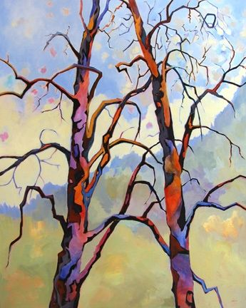 Contemporary tree painting Companionship, painting by artist Carolee Clark