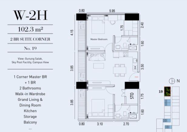2 Br Suite Corner 102 3 M2