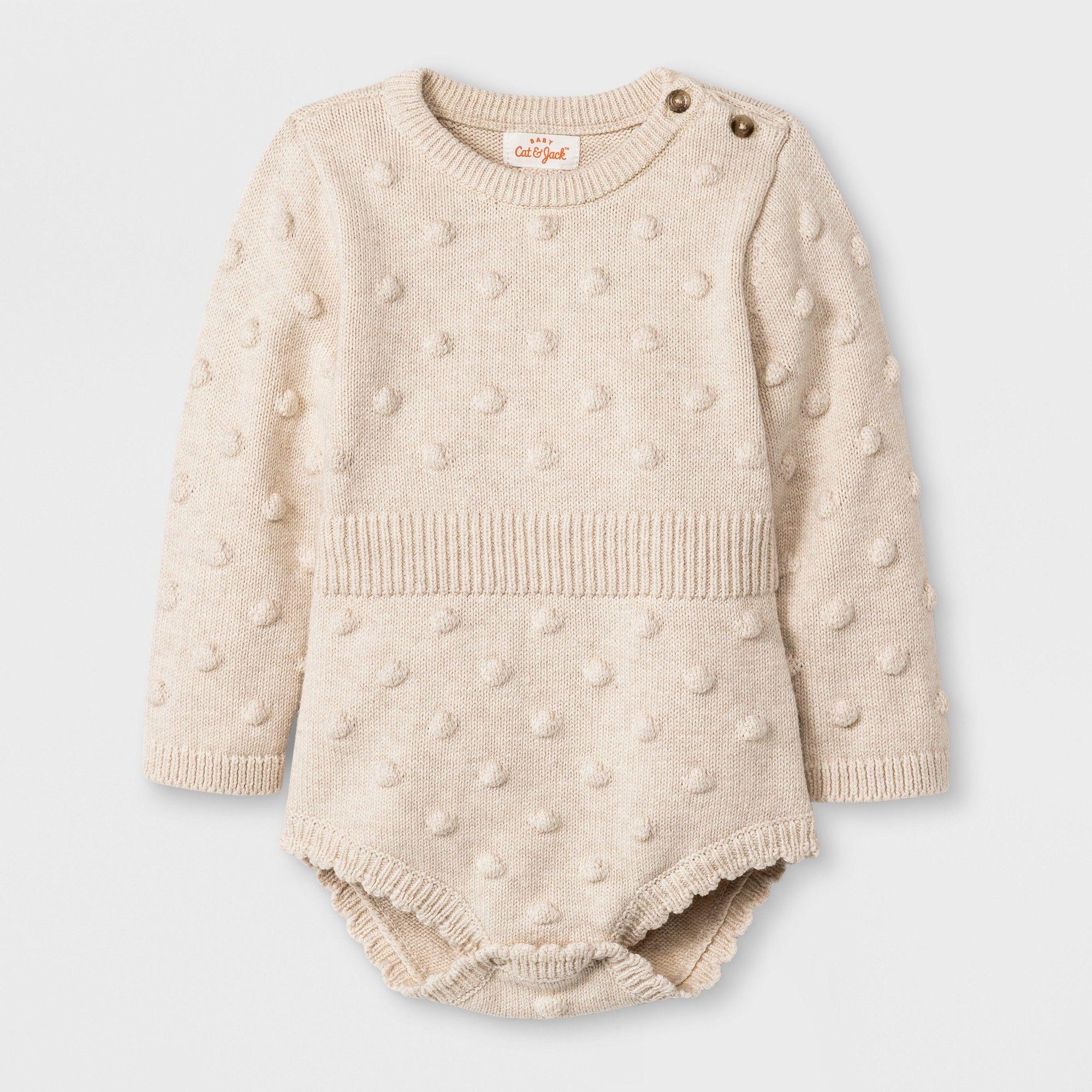 aeecee32291b Baby Girls  Long Sleeve Legless Romper Sweater - Cat   Jack Beige ...