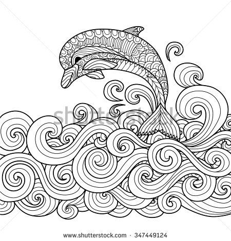 Hand drawn zentangle dolphin with scrolling sea wave for coloring ...
