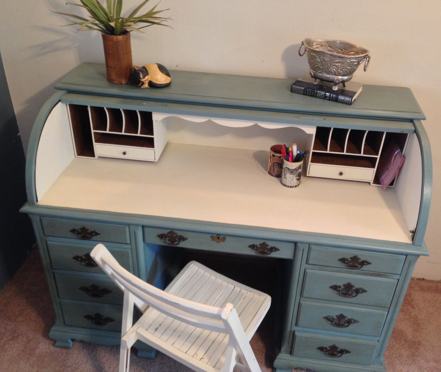 Vintage Roll Top Desk Home Office Painted By Vintagehipdecor