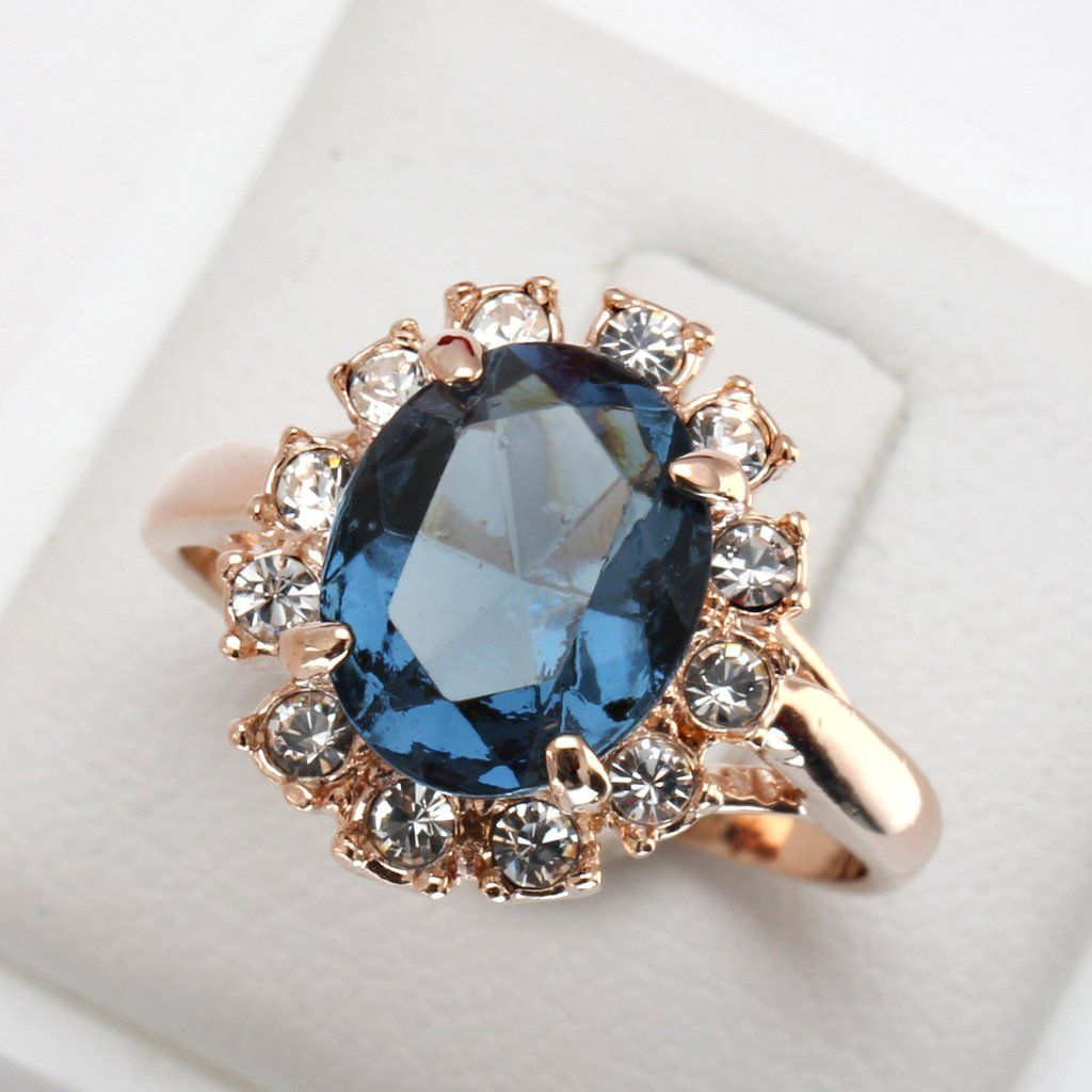 Sapphire Gold Plated Crystal Ring