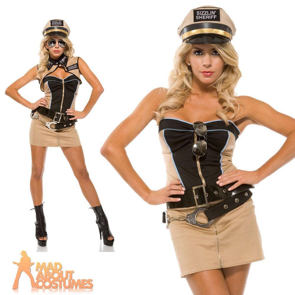 Adult Sizzlin Sheriff Costume US Deputy Ladies Fancy Dress Outfit New