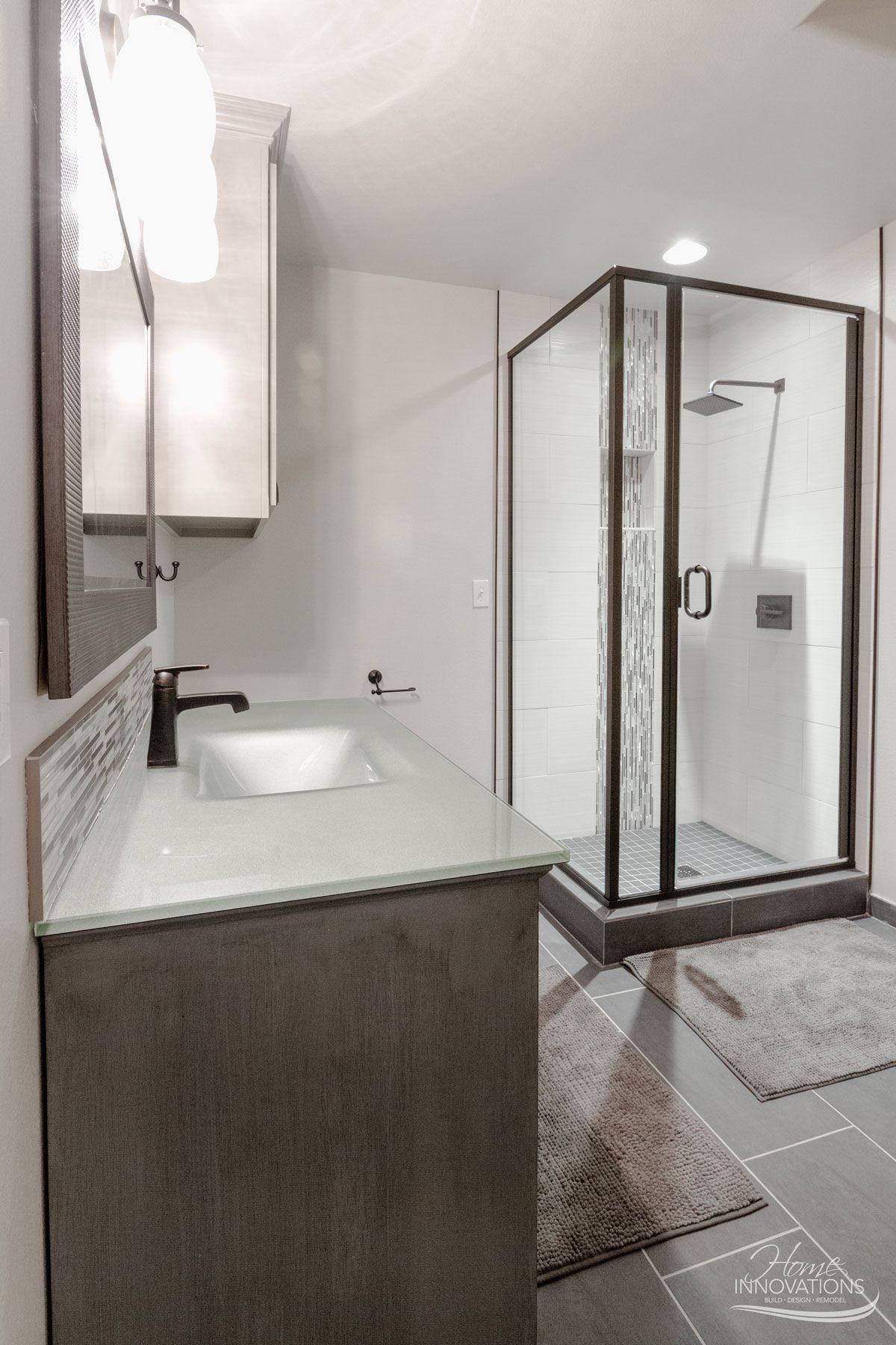 Custom Home Builder | Tulsa OK - Bathroom with gray tile floor ...