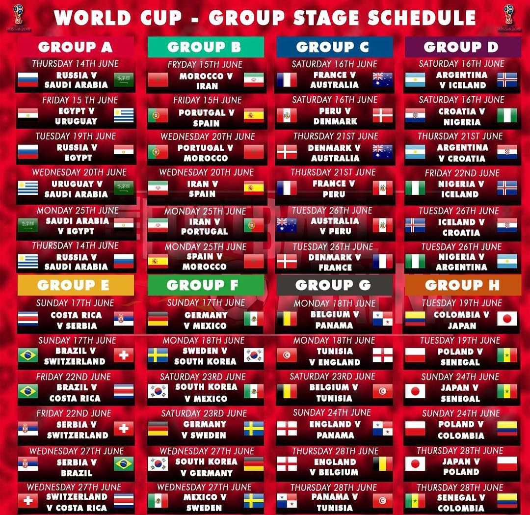 World Cup Group Stage Schedule Worldcup Fifaworldcup Worldcup2018 Football Soccer Futbol Futebol World Cup Groups Soccer World Cup 2018 Russia World Cup