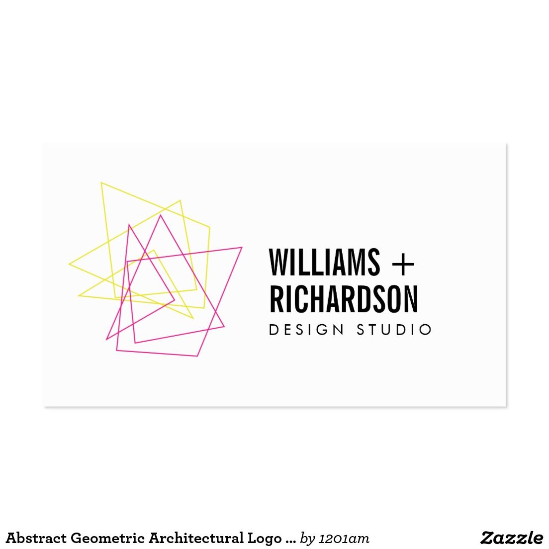 Abstract Geometric Architectural Logo Pink/Yellow Business Card ...