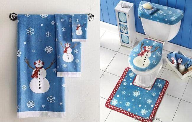 Juego de baño navideño Navidad Fieltro y massss Pinterest