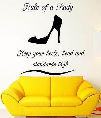 Wall Decal Quote Rule Lady Woman Girl Vinyl Stickers Art Mural ...