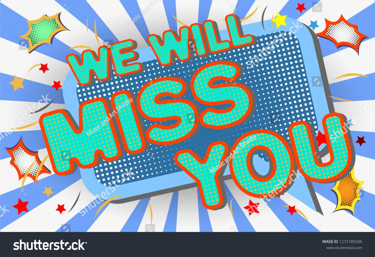 Farewell Party Template We Will Miss You Text Design Pop Art Comic Style Colorful Background For T Shirt Print Banner In 2021 Party Background Banner Template Party