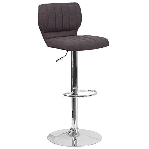 Flash Furniture Contemporary Black Fabric Adjustable Height Barstool