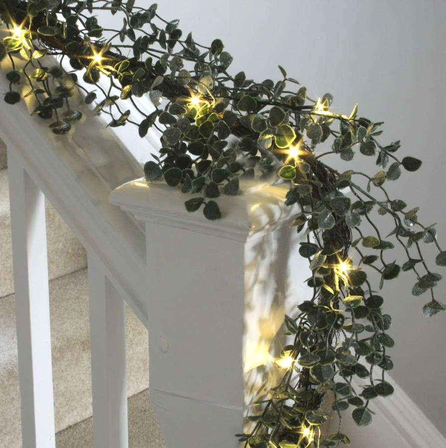 Eucalyptus And Red Berry Led Bannister Garland Decorations De Noel