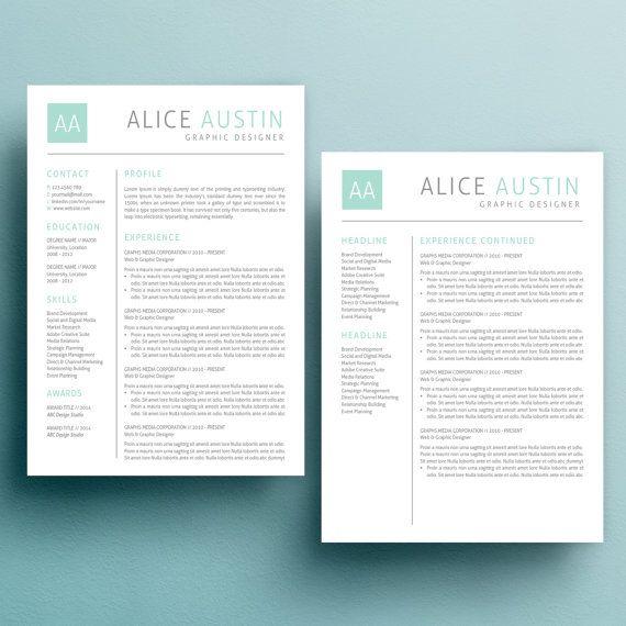 instant download teacher resume  cv template   cover letter