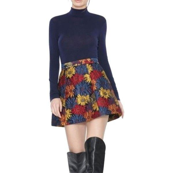 Pre-owned Alice + Olivia & Loran Floral Jacquard Mini Mini Skirt ($168)