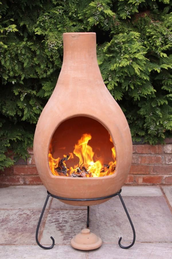 Super jumbo mexican clay terracotta chimenea stacked for Mexican chiminea