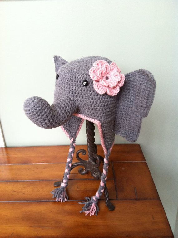 Crochet Elephant Hat with Flower or Tuft, Earflaps, and Braids ...