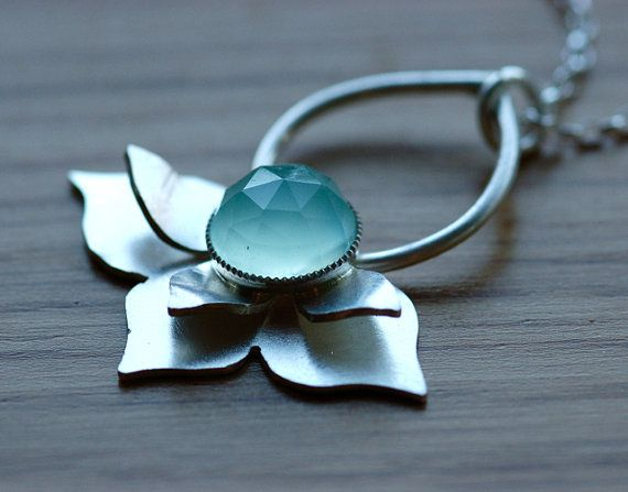 Lotus Inspired Necklace with Aqua Chalcedony