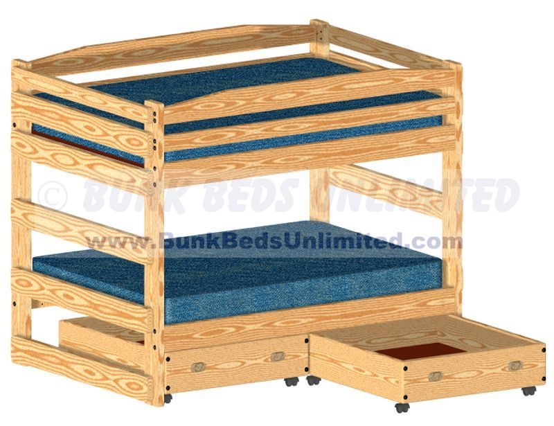 Bunk Bed Plan Full Over Full With Large Storage Drawers Or Trundle